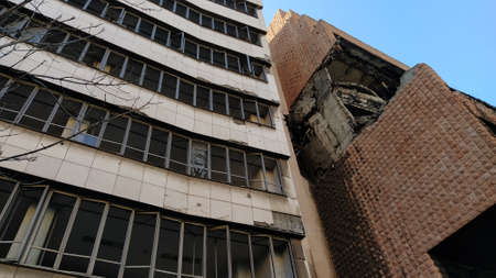 Belgrade,Serbia - January 24, 2020: Former building of the Ministry of Defense of Yugoslavia in Belgrade, heavily damaged during the bombing during the Allied Force operation conducted by NATO forces.