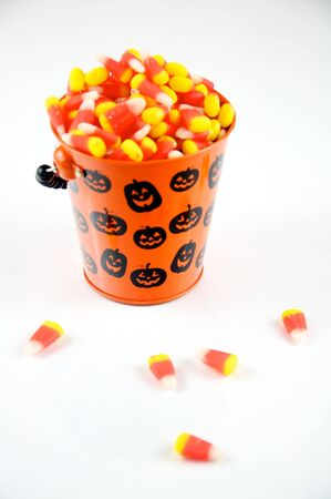 Candy Corn in Halloween Pail