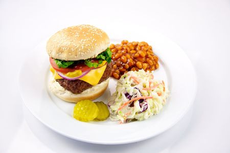 Cheeseburger with Baked Beans and Coleslaw