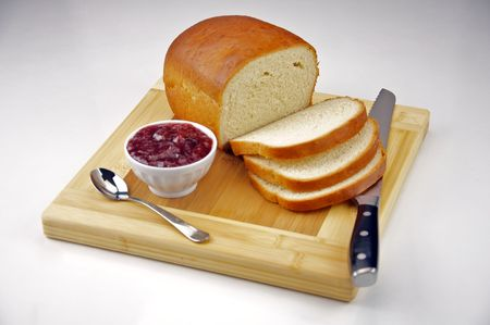 Homemade White Bread with Strawberry Jam Stockfoto