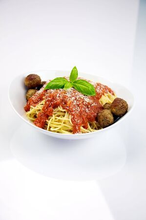 Spaghetti with Meatballs Stockfoto