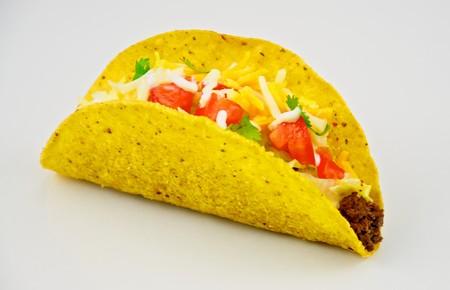 queso cheddar: Taco estadounidense tradicional, servido con carne molida, crema agria, lechuga de iceburg, tomate y jack y queso cheddar queso.  Foto de archivo