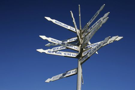 distances: A signpost on a hiking path on the South Island of New Zealand gives directions and distances to major ciites around the world. White signs against a clear blue sky.