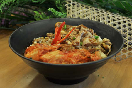 Korean pickled cabbage beef rice
