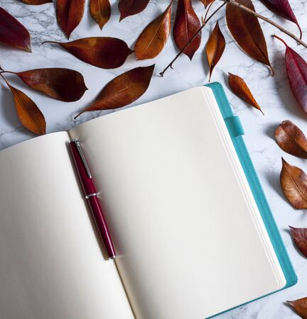 notebook and pen on marble floor with faded leaves