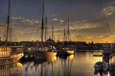 Marina sunset Stock Photo