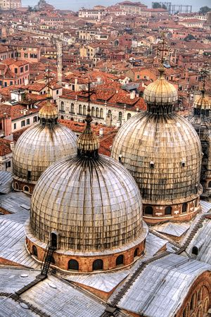 Domes and rooftops in Venice. photo