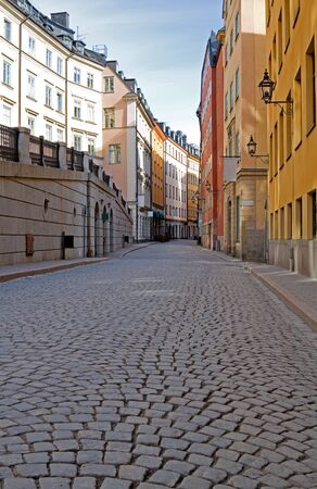 city street: Old Town cobblestone street in Stockholm. Stock Photo