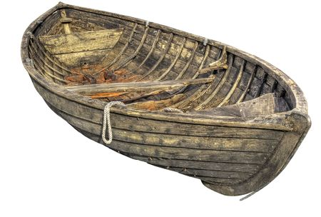 rowboat: Old traditional wooden rowboat.