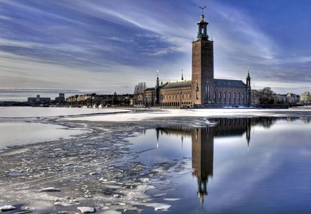 Winter image of Stockholm City hall.