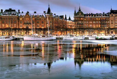sweden winter: Winter evening in the city.