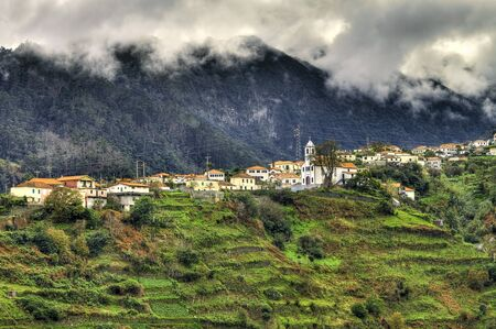 portugal agriculture: Santana, idyllic village on the island of Madeira. Stock Photo