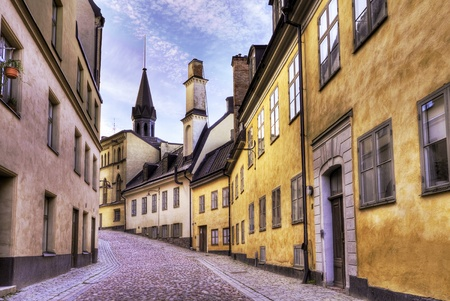 Cobblestone street in the old part of town. Stock Photo