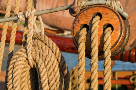 Details from an old wooden ship. Stock Photo