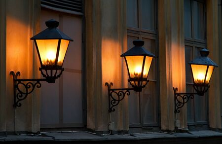 Three lanterns at night. Stock Photo