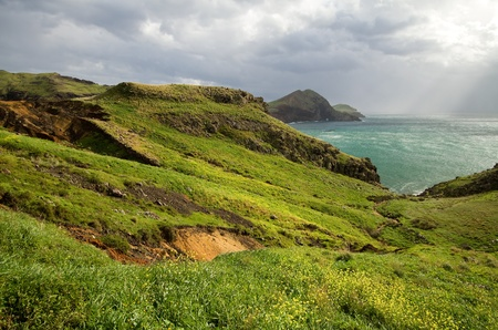 Green hills on the island of Madeira, Portugal. Stock Photo