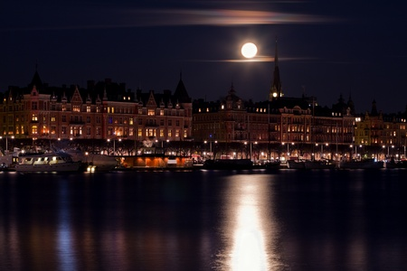 Moonlight over Stockholm. Stock Photo