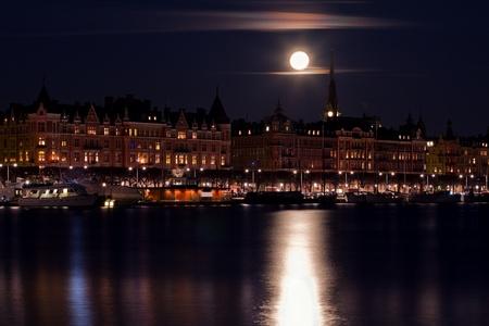 Moonlight over Stockholm. Stock Photo
