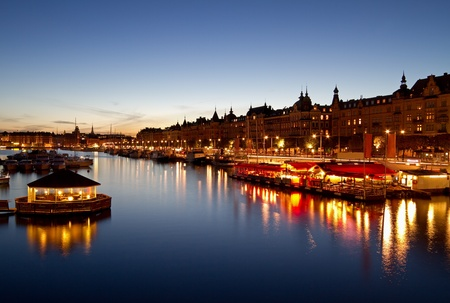 Scenic night image of Stockholm city.