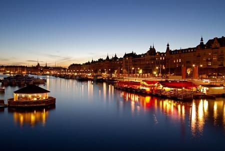 Scenic night image of Stockholm city.
