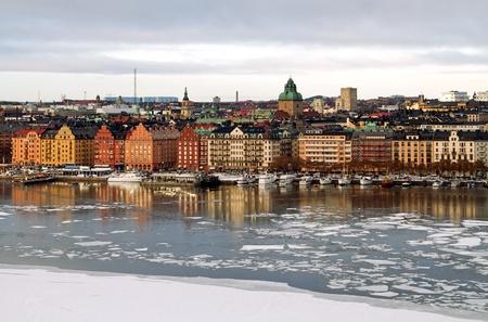 Kungsholmen and Riddarfjarden in Stockholm in winter.