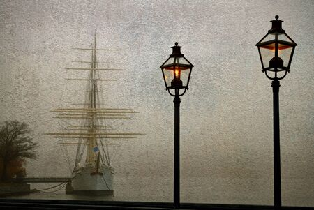 Vintage ship and old lampposts.