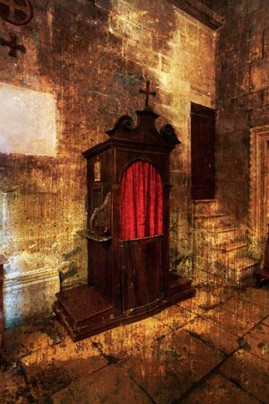 antique booth: Ancient wooden confessional. Stock Photo