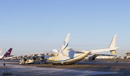 STOCKHOLM  JANUARY 6. Worlds biggest airplane Antonov An 225 parked at Stockholm -Arlanda airport. Strategic airlifter designed to transport the Buran spaceshuttle. Homebase is Ukraine.