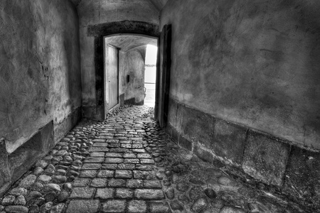 Secret passage. Black and white image.