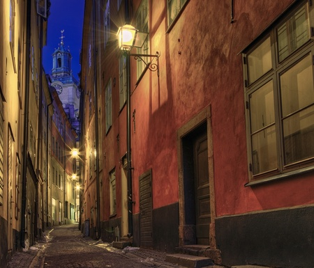 city alley: At night in the alley in Old Town, Stockholm. Stock Photo