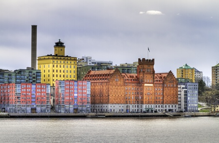Waterfront architecture at Stockholm inlet.