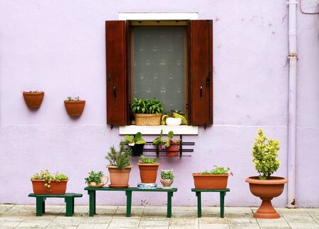 Lilac facade with decorative flowerpots outside Stock Photo - 14098590