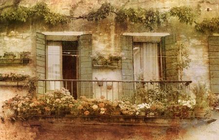Romantic flower decorated vintage balcony. Stock Photo - 14098591