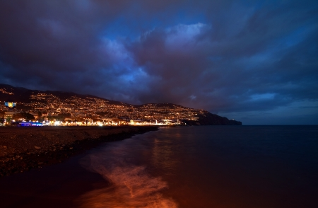 Night image of Funchal on the island of Madeira. Stock Photo