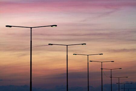 Streetlights at sunset.