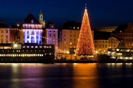Night image of decorated christmas tree in Stockholm city.