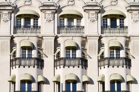decorative balconies: Vintage facade with decorative balconies.