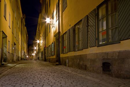 Empty cobblestone alley at night.