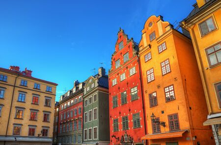 Colourful architecture in Stockholm Old Town, HDR image  photo