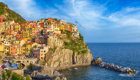 Bright colourful panorama of Manarola, Cinque terre  photo