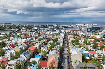 reykjavik: Vista a�rea de Reykjavik, Islandia Foto de archivo