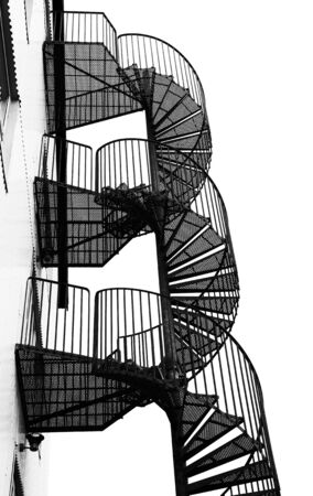 Winding spiral staircase, black and white image