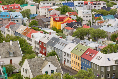 Aerial view of the city of Reykjavik, Iceland  Stock Photo