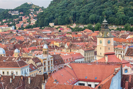 brasov: Aerial view of Brasov city in Romania. Stock Photo