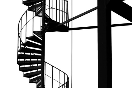 staircase structure: Spiral staircase structure, black and white image. Stock Photo