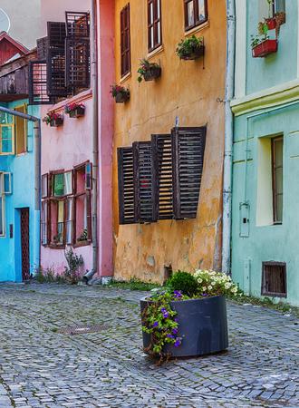 pastel: Colourful vintage architecture in Sighisoara, Romania.
