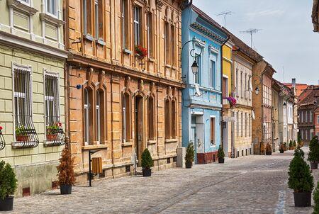 saxon: Picturesque street in central Brasov, Romania. Stock Photo