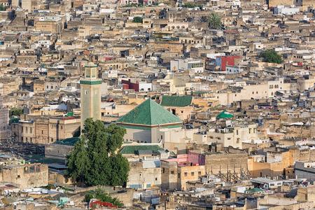 medina: Aerial view over the medina in Fes Morocco. Stock Photo