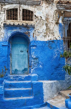 Typical architecture from the medina in Chefchaouen Morocco. photo