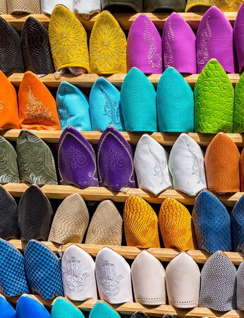 footwear: Babouches traditional Moroccan footwear.